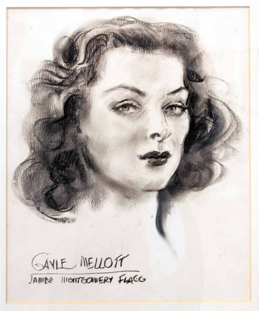 "James Montgomery Flagg  ""Gayle Mellott ""  Charcoal - Museum Purchase 1971"